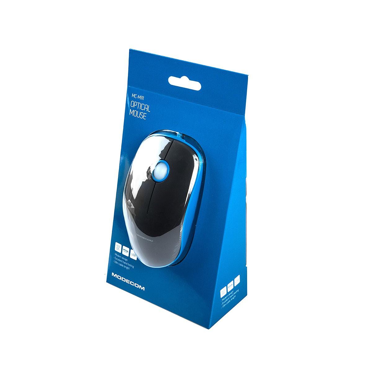 MODECOM MC-M111 juoda laidinė optinė pelė | 1600 DPI