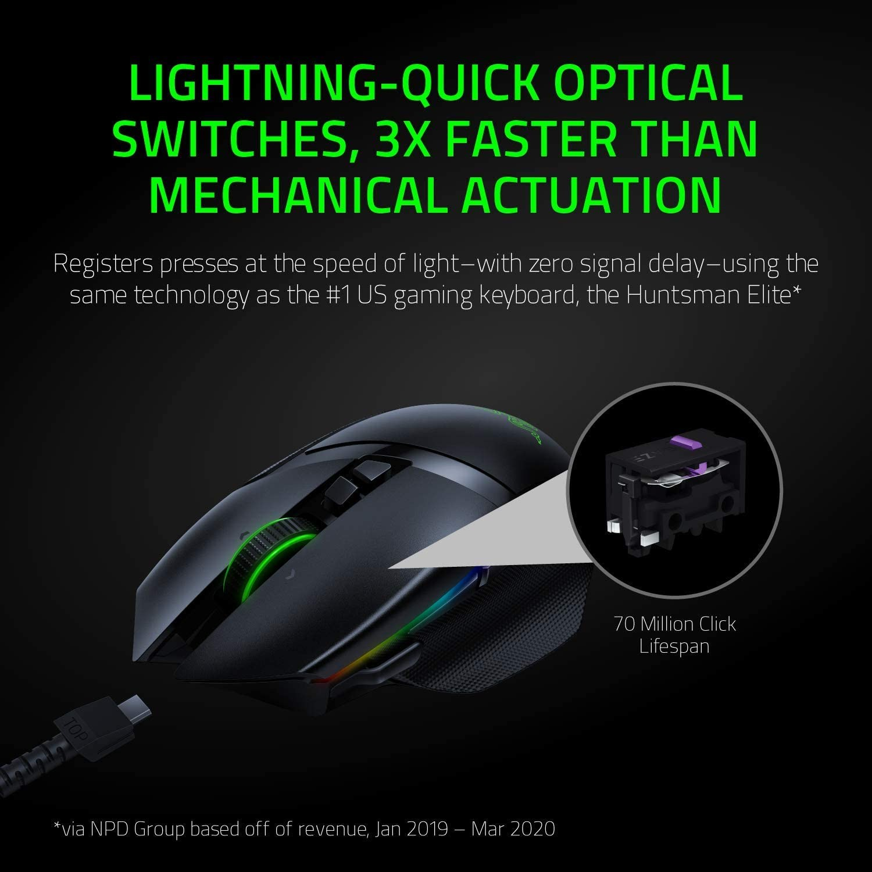 RAZER BASILISK ULTIMATE juoda bevielė žaidimų optinė pelė | 20000 DPI