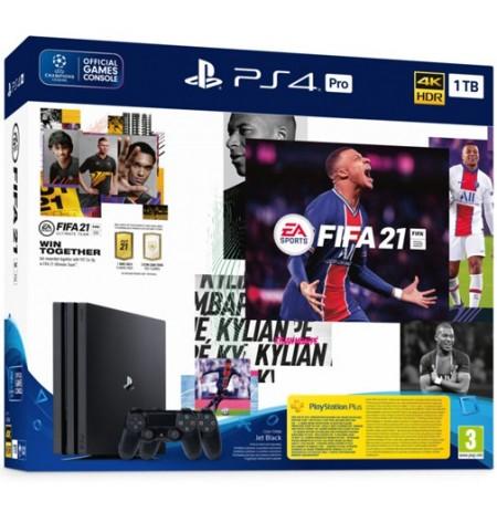 Žaidimų konsolė SONY PlayStation 4 (PS4) PRO 1TB (juoda) + FIFA 21 Dualshock bundle