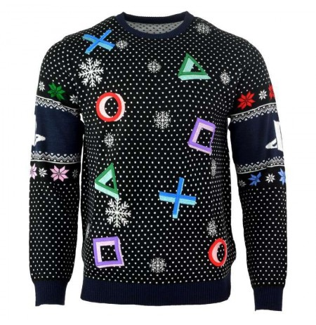 PlayStation Symbols Christmas Jumper / Ugly Sweater (Black) | Extra large