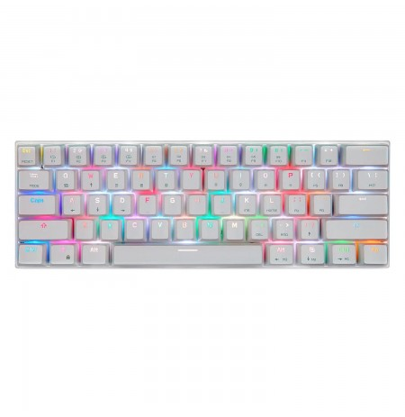 MOTOSPEED CK62 white wireless 60% mechanical keyboard with RGB (US, Blue switch)