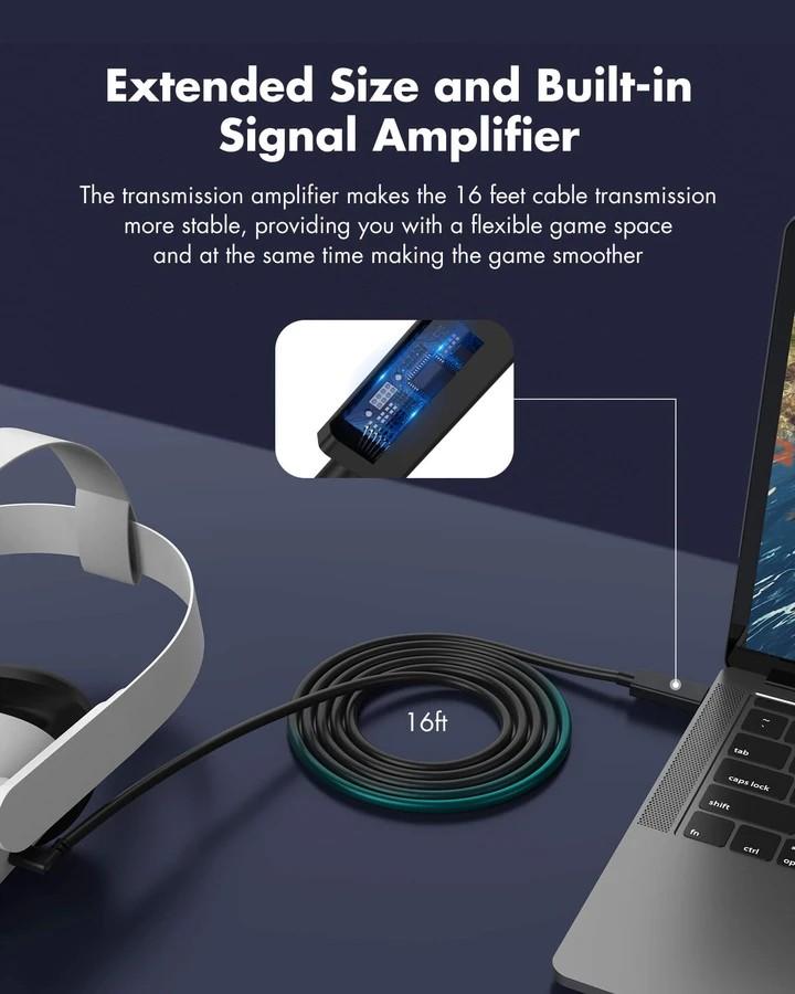 Kiwi Design QC-5 USB-C 16FT (5M) ilgio laidas Oculus Quest 1 ir 2 (USB 3.2)