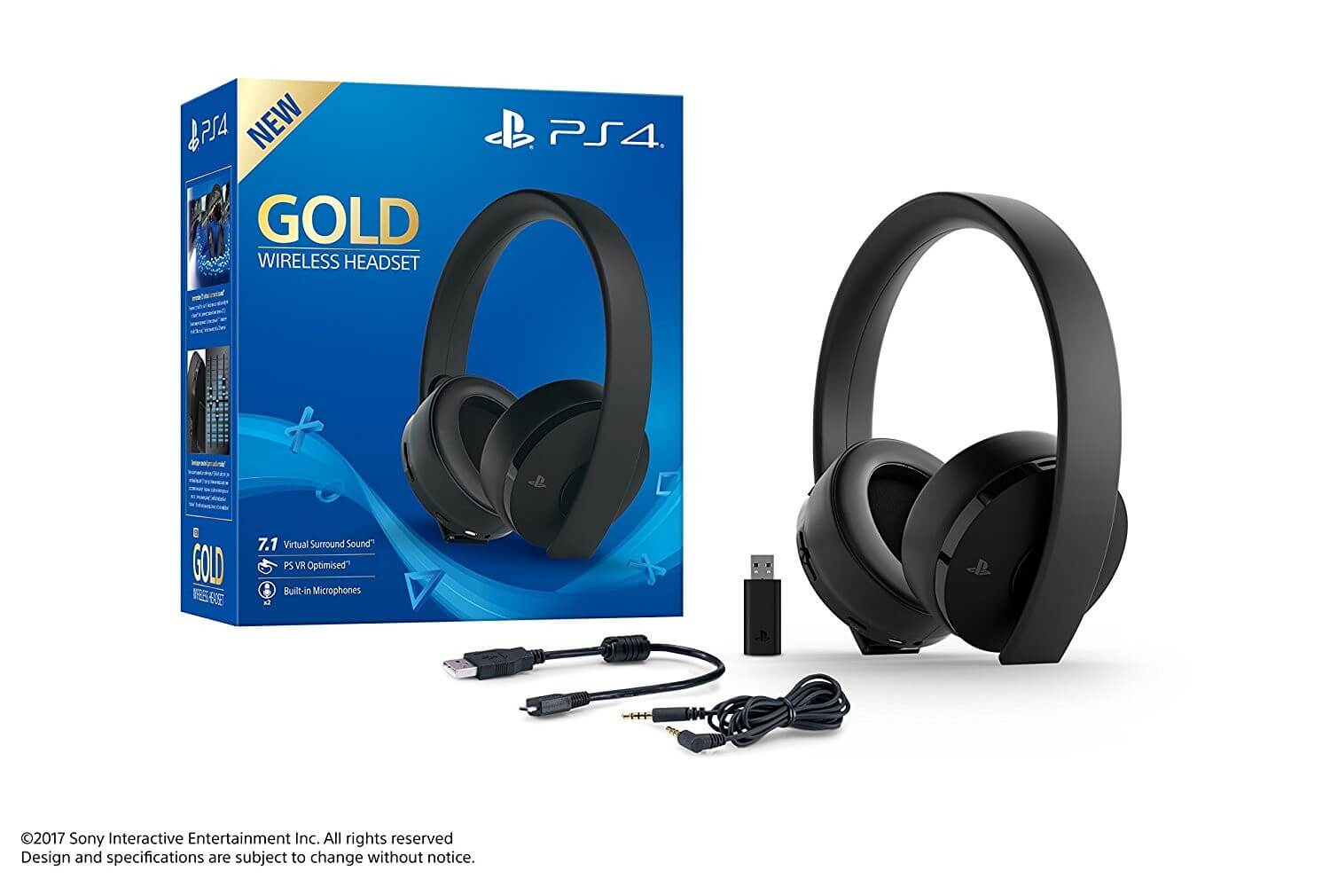 Sony PlayStation 4 Gold Wireless 7.1 Headset Black
