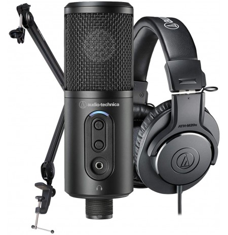 Audio Technica Creator Pack | ATR2500x-US + ATH-M20x + mikrofono stovas