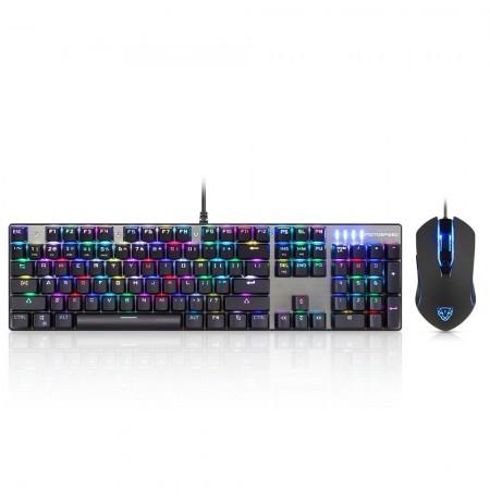 MOTOSPEED CK888 mechaninės klaviatūros su RGB apšvietimu (US, RED switch) ir pelės rinkinys