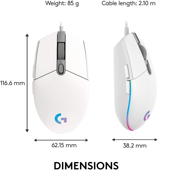LOGITECH G203 Lightsync balta laidinė pelė