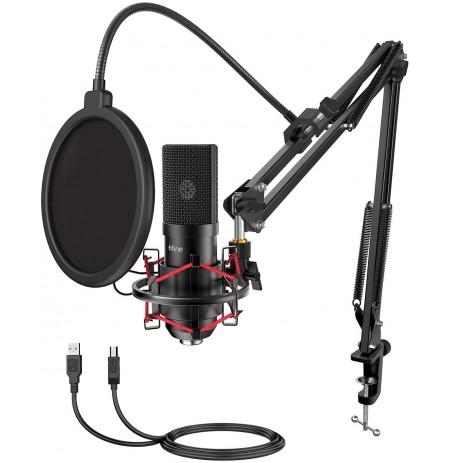 FIFINE T732 juodas kondensatorinis mikrofonas su laidu + laikiklis | USB