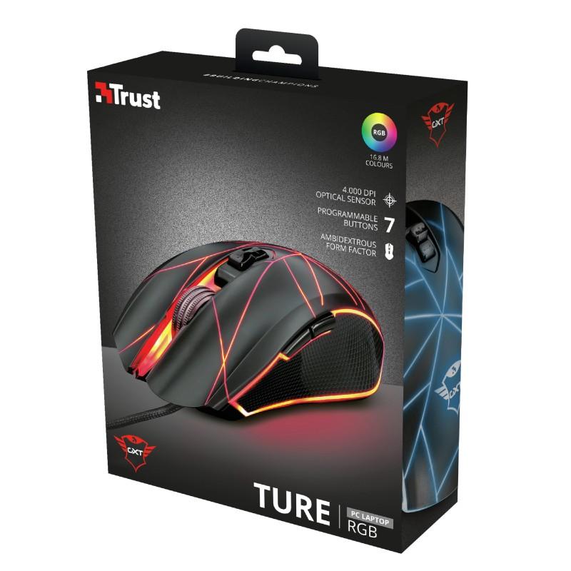 TRUST GXT 160 Ture RGB laidinė pelė   4000 DPI