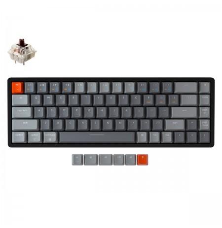 Keychron K6 mechaninė 65% klaviatūra (bevielė, aliuminio rėmo, RGB, Hot-swap, US, Gateron Brown)