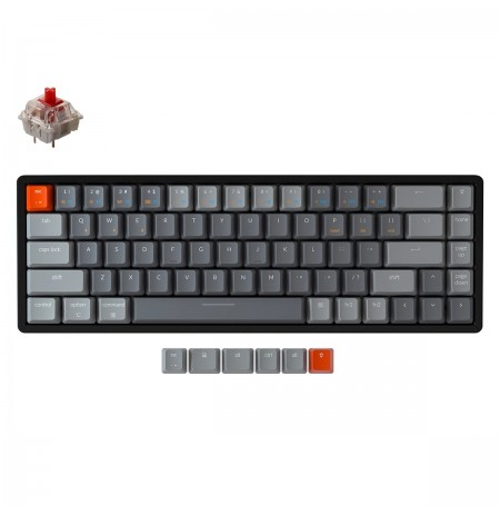 Keychron K6 mechanical 65% keyboard (Wireless, Aluminum Frame, RGB, Hot-swap, US, Gateron Red)