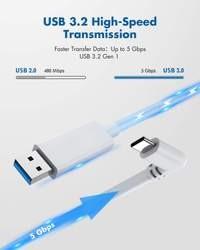 Kiwi Design QC-5 USB-C 16FT (5M) ilgio laidas Oculus Quest 1 ir 2 (USB 3.2) (Baltas)