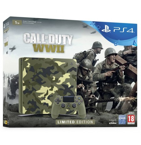 SONY PlayStation 4 (PS4) Slim 1TB - Green Camo Call of Duty WWII Limited Edition