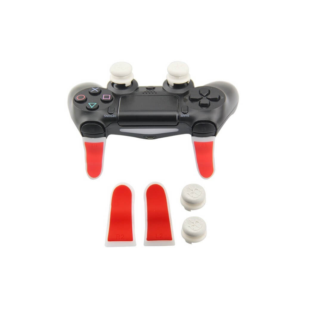 PS4 Controller Extended TRIGGER+FPS Grips SET(Red+White+white)