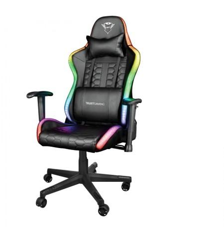 TRUST GXT716 Rizza RGB LED juoda ergonominė kėdė + PowerBank