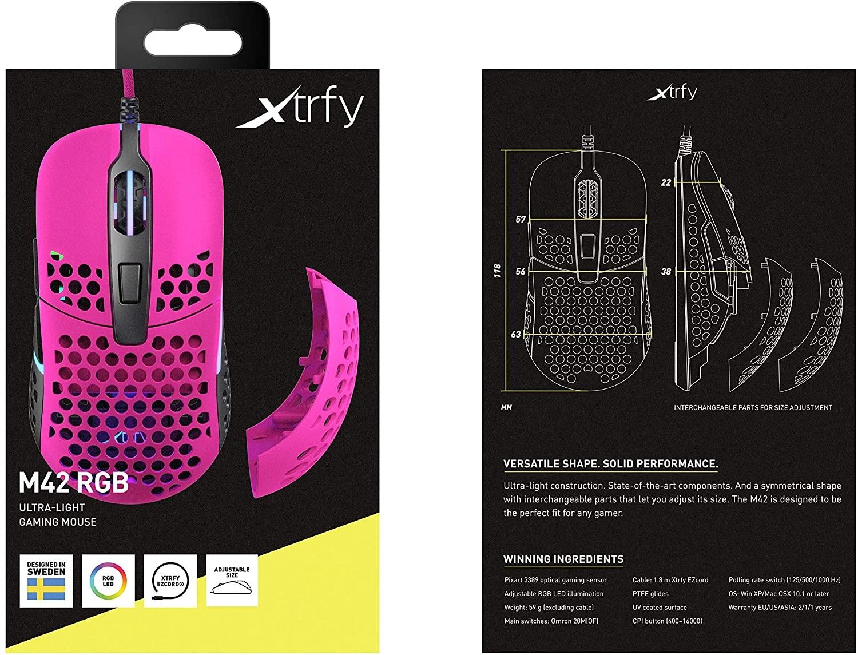 Xtrfy M42 Rausva Optinė Laidinė Pelė | 16000 CPI