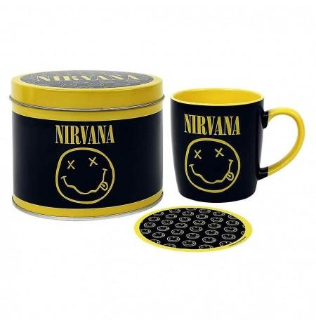 Nirvana (Smiley) puodelis ir padėkliukas skardinėje dėžutėje
