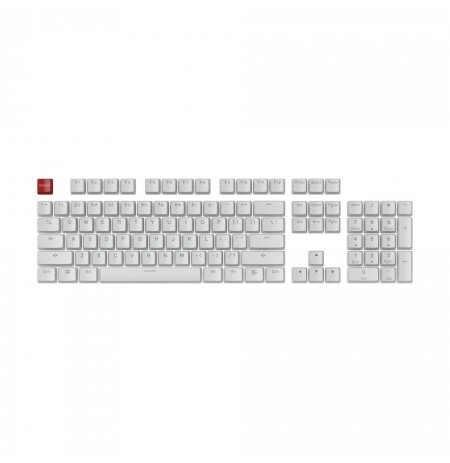 Glorious PC Gaming Race Aura Keycaps - PBT, Pudding, Double Shot, White 104 Key, TKL, Compact Compatible