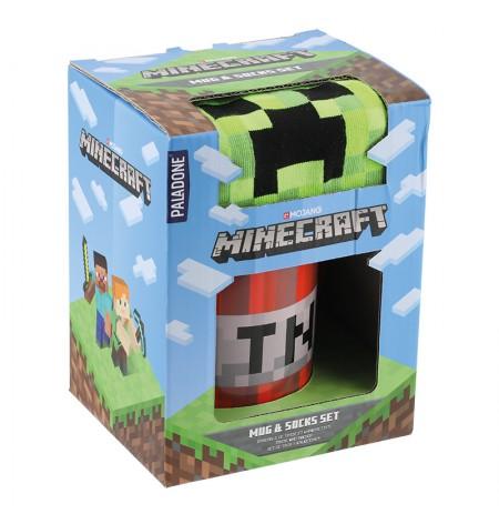 Minecraft puodelis ir kojinės dovanų rinkinys