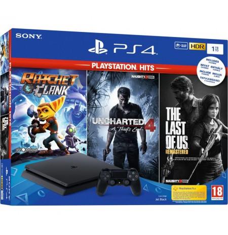 Žaidimų konsolė SONY PlayStation 4 (PS4) Slim 1TB - Juoda + 3