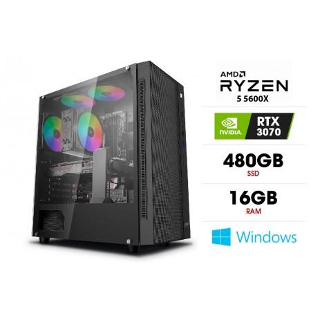 Stacionarus kompiuteris | AMD Ryzen 5 5600X, 16GB 3200MHz, SSD 480GB, HDD 1TB, RTX 3070