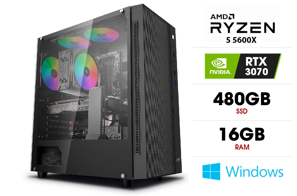 Stacionarus kompiuteris   AMD Ryzen 5 5600X, 16GB 3200MHz, SSD 480GB, HDD 1TB, RTX 3070