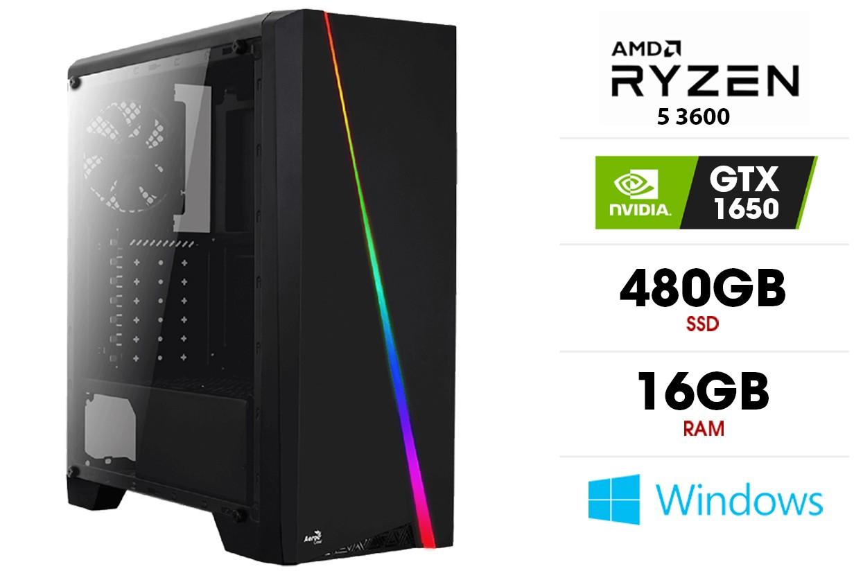 Stacionarus kompiuteris   AMD Ryzen 5 3600, 16GB 3200MHz, SSD 480GB, GTX 1650