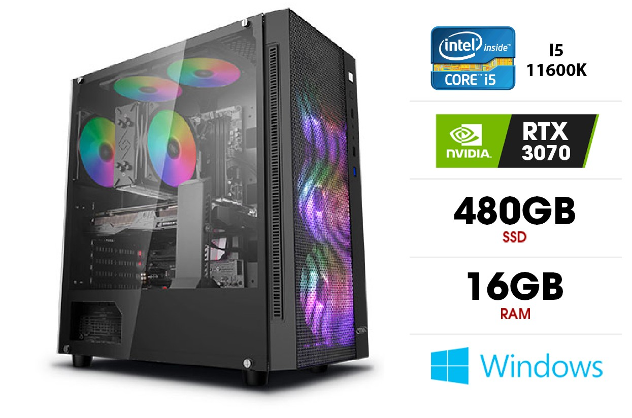 Stacionarus kompiuteris   Intel Core i5-11600K, 16GB 3200MHz, SSD 480GB, HDD 1TB, RTX 3070
