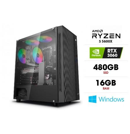 Stacionarus kompiuteris | AMD Ryzen 5 5600X, 16GB 3200MHz, SSD 480GB, HDD 1TB, RTX 3060