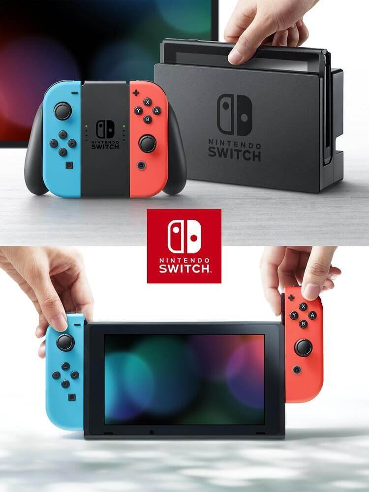 Nintendo Switch console (with Neon Red & Neon Blue Joy- Con)