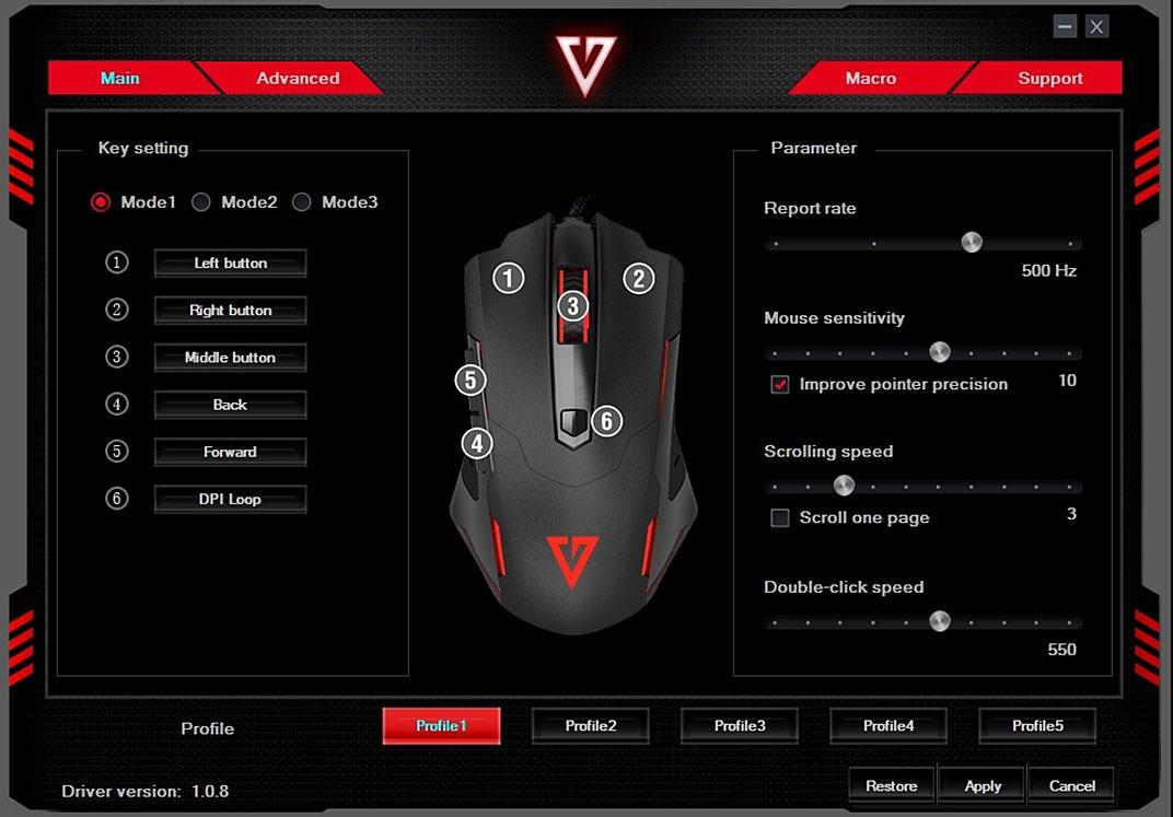 MODECOM Volcano MC-GM4 juoda laidinė žaidimų optinė pelė RGB | 7200 DPI