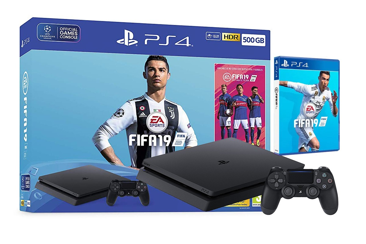 Žaidimų konsolė SONY PlayStation 4 (PS4) Slim 500GB (juoda) - FIFA 19 Bundle