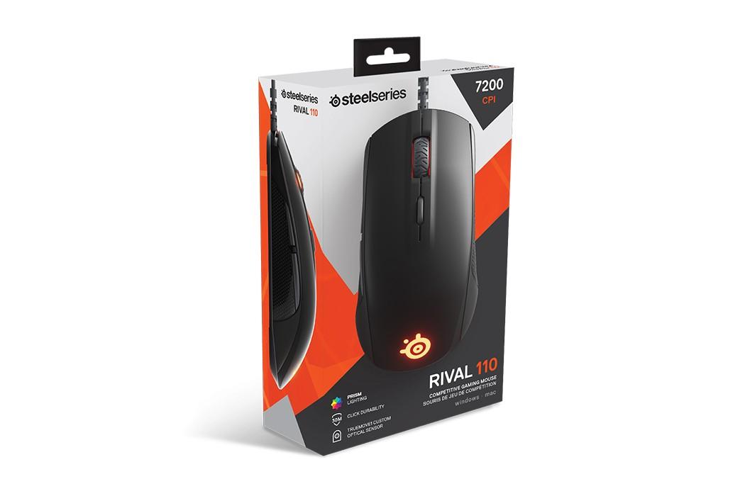 SteelSeries Rival 110 Juoda laidinė optinė pelė | 7200 DPI