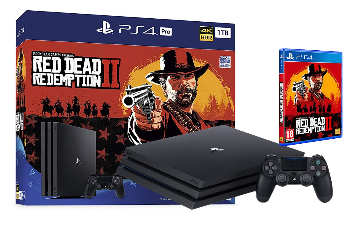 Žaidimų konsolė SONY PlayStation 4 (PS4) PRO 1TB (juoda) + Red Dead Redemption 2 Bundle