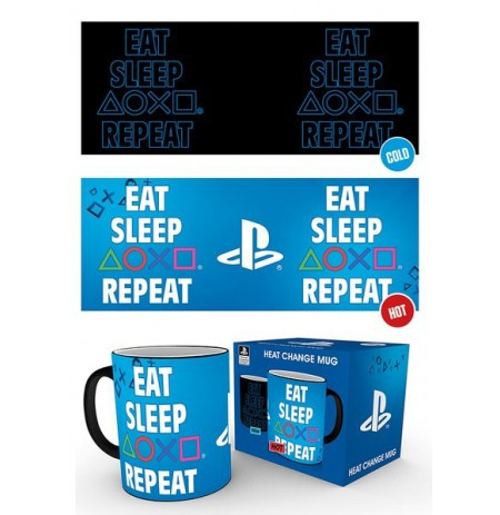 PLAYSTATION Eat Sleep Repeat spalvą keičiantis puodukas