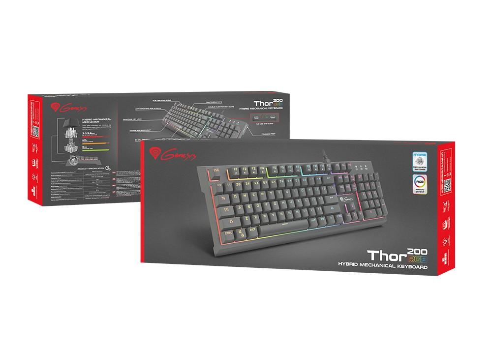 GENESIS THOR 200 RGB mecha-membraninė klaviatūra (US)
