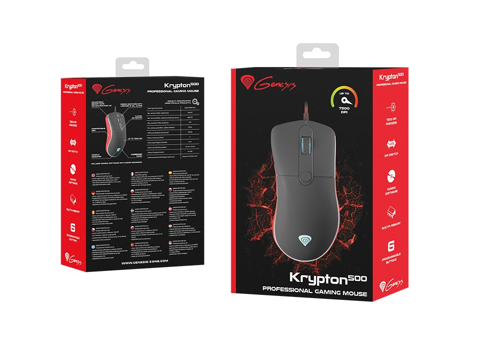 GENESIS KRYPTON 500 GAMING MOUSE 7200 DPI OPTICAL WITH SOFTWARE