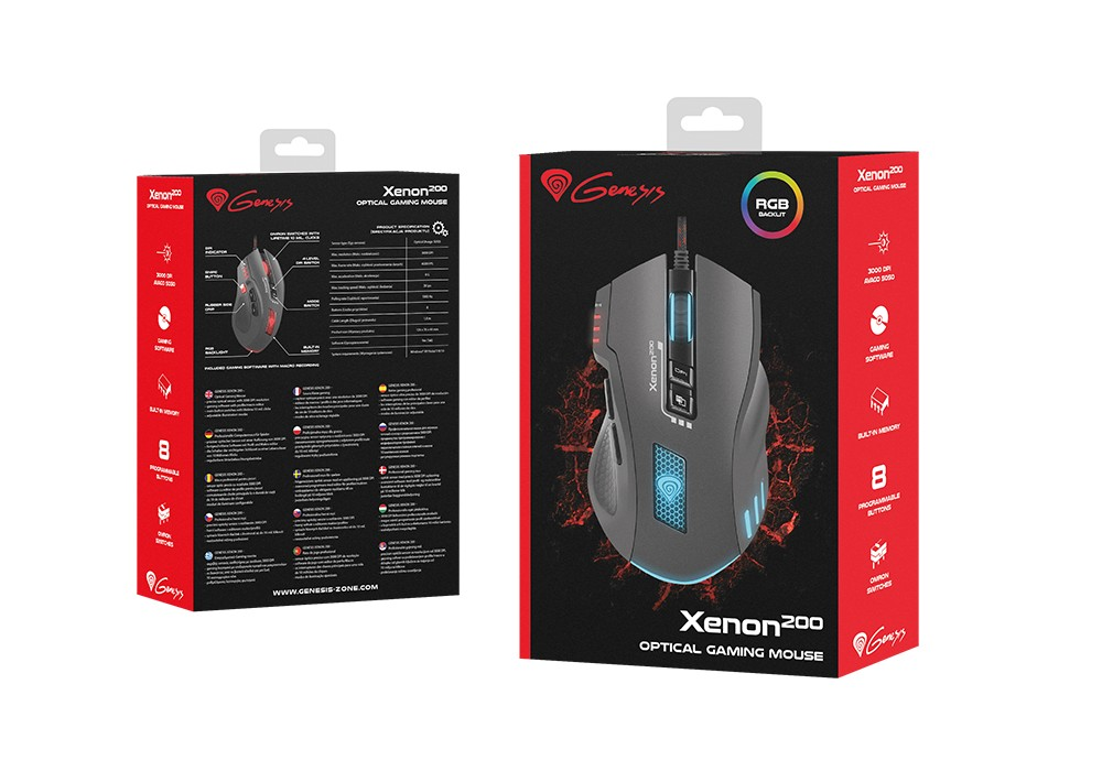 GENESIS XENON 200 laidinė optinė pelė 3000DPI