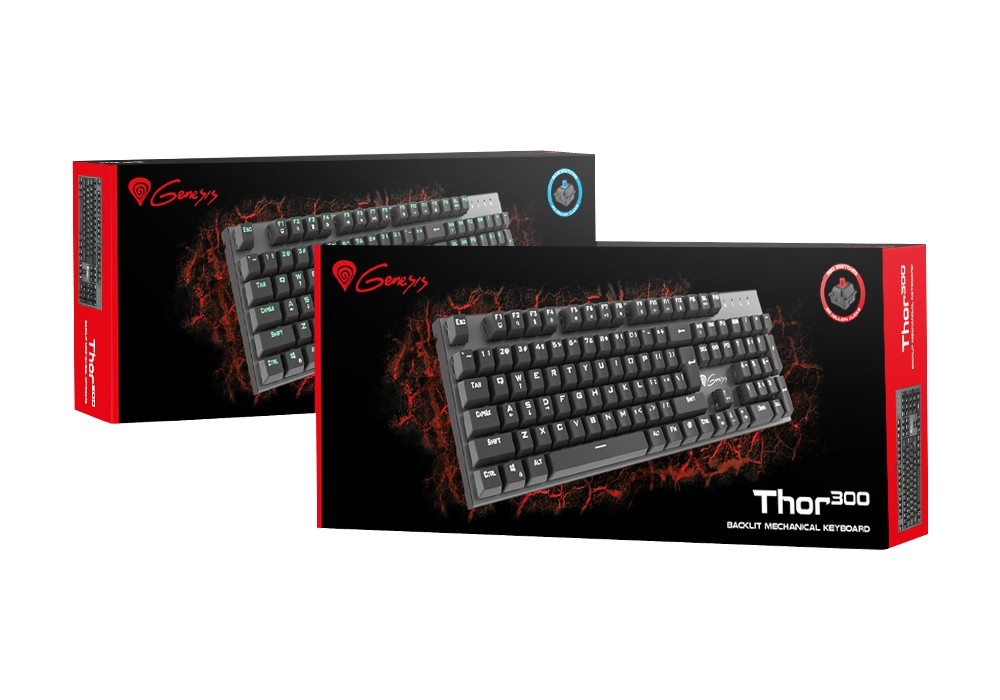 GENESIS THOR 300 US MECHANICAL KEYBOARD, WHITE BACKLIGHT, RED OETEMU SWITCH