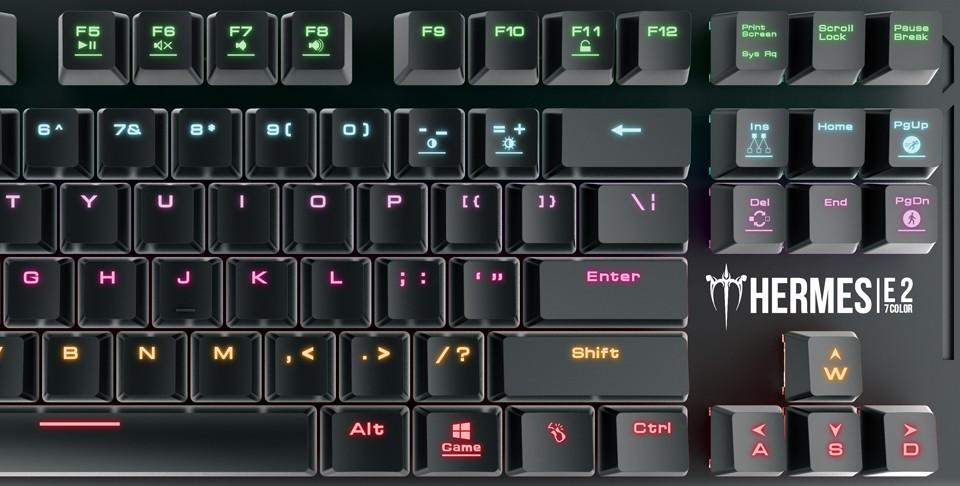 Gamdias HERMES E2 7 COLOR TKL mechaninė laidinė klaviatūra (US, Brown)