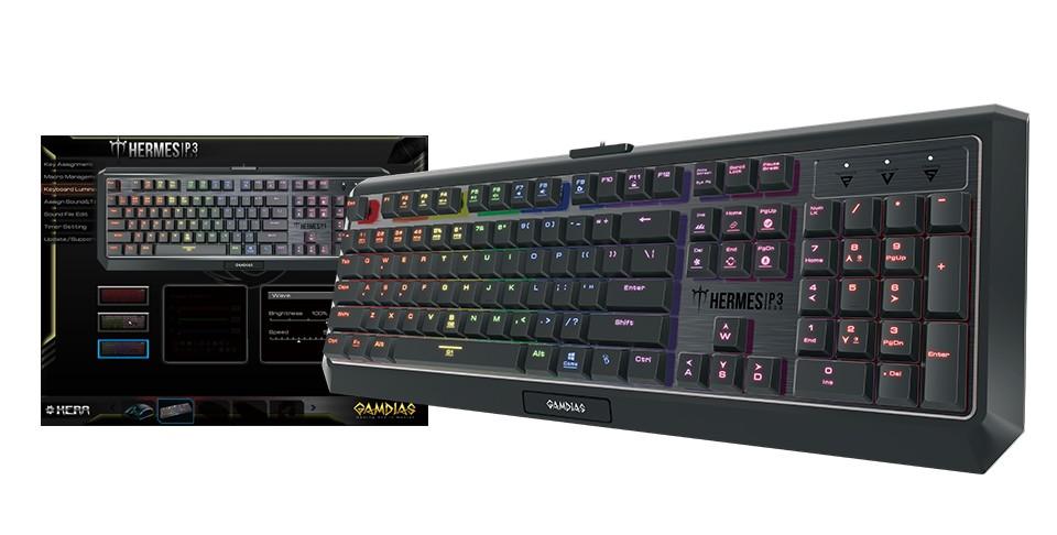Gamdias HERMES P3 žemo profilio mechaninė klaviatūra RGB US
