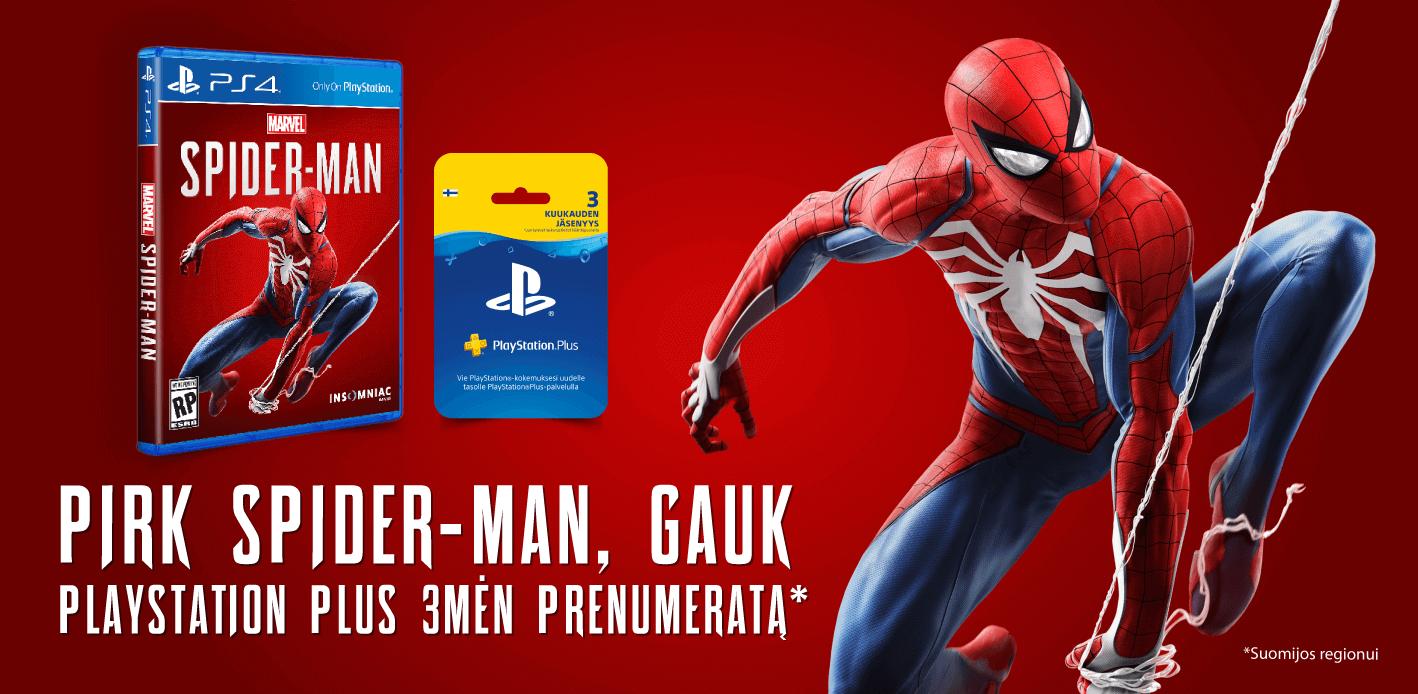 Spider-man PS4 ir PSN 3 mėnesių narystė (regionas: Suomija) tik 65 Eurai
